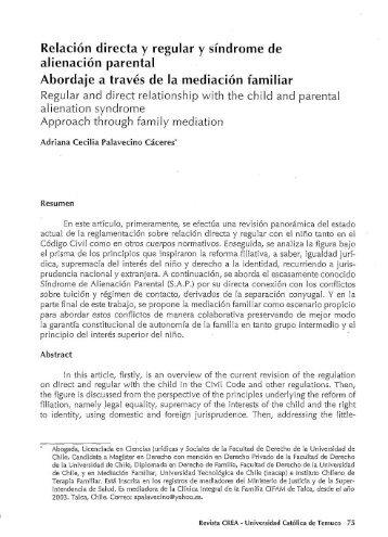 Relación directa y regular y síndrome de alienación parental ...
