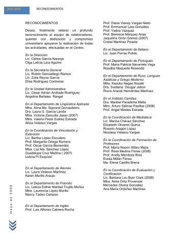 m a y o d e 2 0 0 9 2005-2009 RECONOCIMIENTOS ...