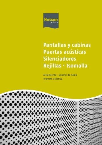 Pantallas y cabinas Puertas acústicas Silenciadores Rejillas · Isomalla