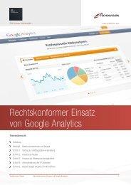 Rechtskonformer Einsatz von Google Analytics