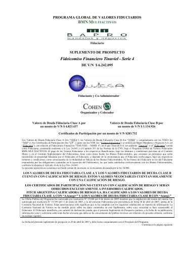 Fideicomiso Financiero Tinuviel - Serie 4 - Cohen