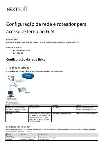 Configuração de rede e roteador para acesso externo ao ... - NextSoft