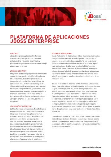 PLATAFORMA DE APLICACIONES JBOSS ENTERPRISE - Red Hat