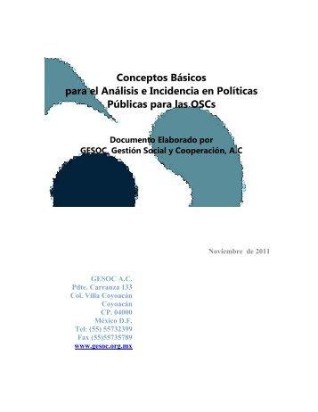 Conceptos Básicos para el Análisis e Incidencia en Políticas ...