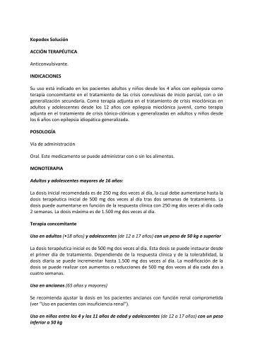 Kopodex Solución ACCIÓN TERAPÉUTICA Anticonvulsivante ...