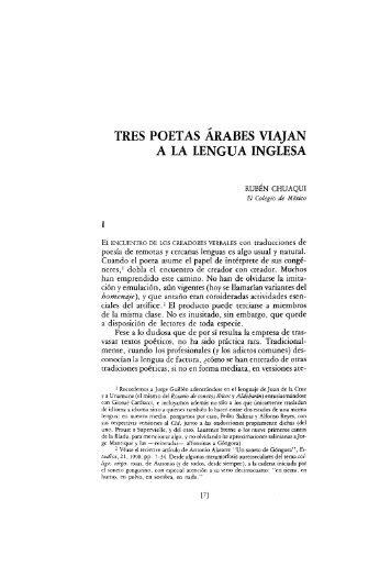 TRES POETAS ÁRABES VIAJAN A LA LENGUA INGLESA