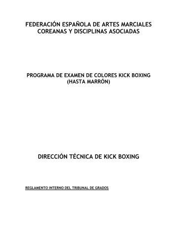 EXAMENES grados colores KICK BOXING - Fedamc