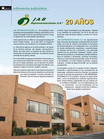 Aviso publicitario JAB Representaciones - Acicam