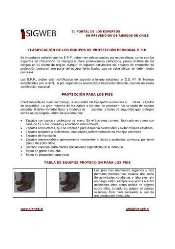 E.P.P. Protección para los Pies - Sigweb