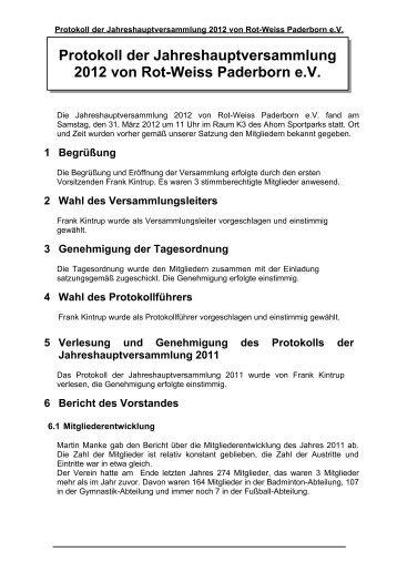 Jahreshauptversammlung 2012 - Rot-Weiss-Paderborn eV