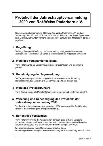 Jahreshauptversammlung 2009 - Rot-Weiss-Paderborn eV