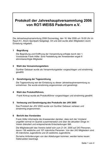 Jahreshauptversammlung 2006 - Rot-Weiss-Paderborn eV