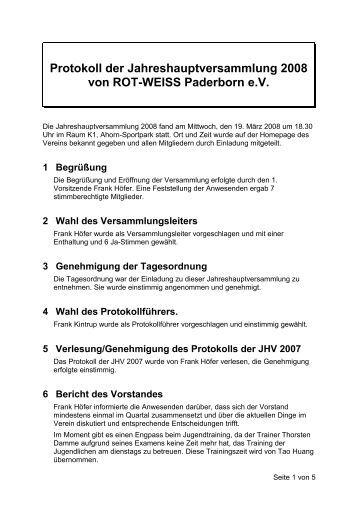 Jahreshauptversammlung 2008 - Rot-Weiss-Paderborn eV