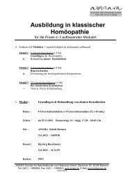 Ausbildung in klassischer Homöopathie - Amara Schulen für ...