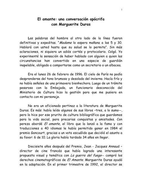 El Amante Una Conversación Apócrifa Con Marguerite Duras