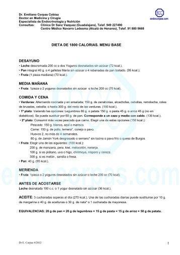 Dieta de 1800 Kcal - Endocorpas.com