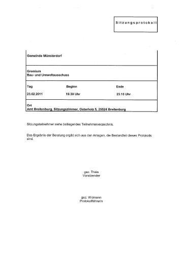 Protokoll Bau- und Umweltausschuss 23.02.2011 - Amt Breitenburg