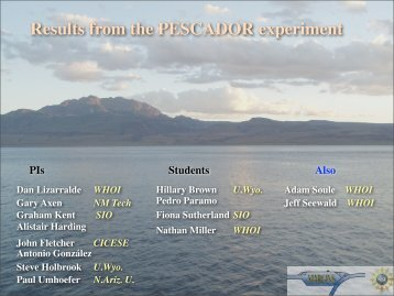 Results from the PESCADOR experiment