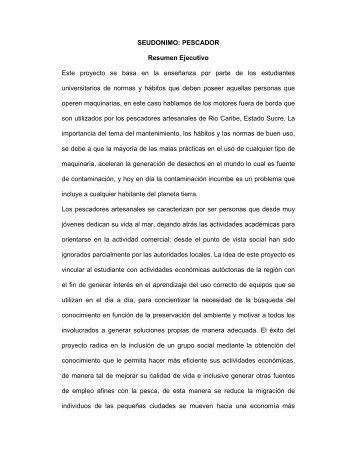 SEUDONIMO: PESCADOR Resumen Ejecutivo Este ... - Venamcham