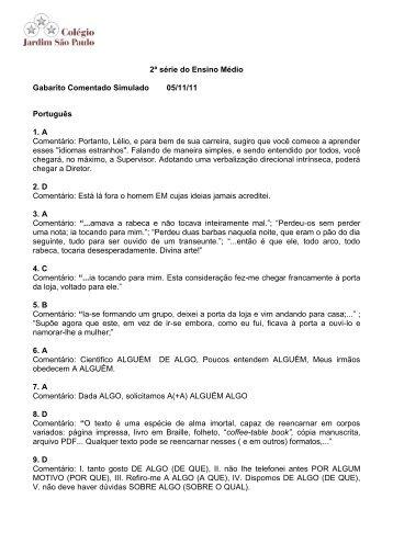 2ª série do Ensino Médio Gabarito Comentado Simulado 05/11/11 ...