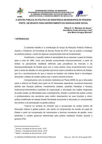 a gestão pública da política de assistência em municípios de ...