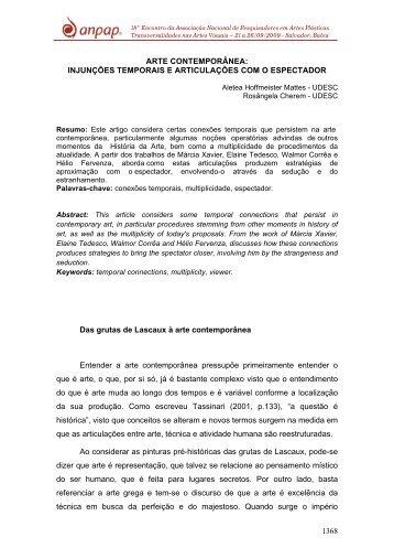INJUNÇÕES TEMPORAIS E ARTICULAÇÕES COM O ... - Anpap
