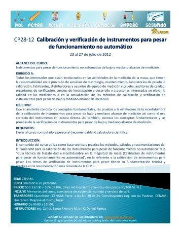 CP28-12 Calibración y verificación de instrumentos para pesar de ...