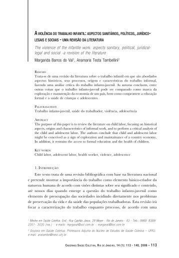 A violência do trabalho infantil - Instituto de Estudos em Saúde ...