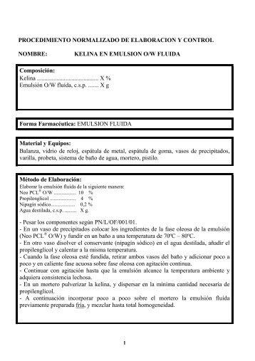 KELINA EN EMULSION O/W FLUIDA Composición