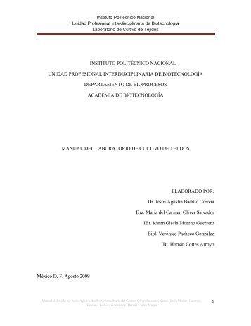 manual del laboratorio de cultivo de tejidos - biblioteca upibi ...