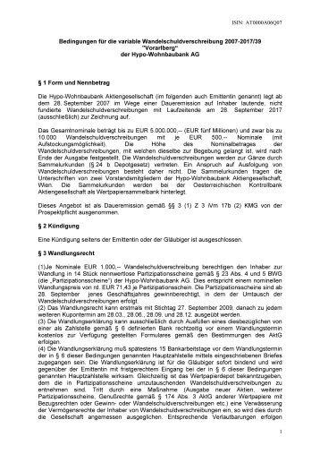 Bedingungen für die variable Wandelschuldverschreibung 2007 ...