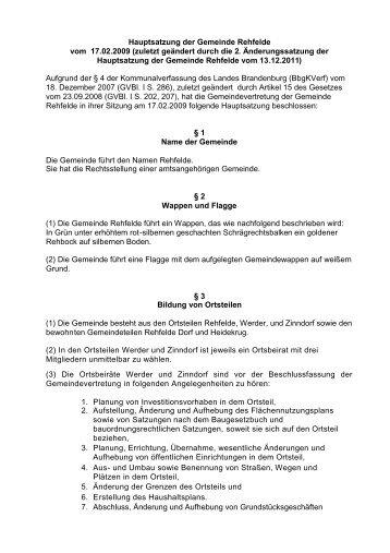 Hauptsatzung - Amt Märkische Schweiz