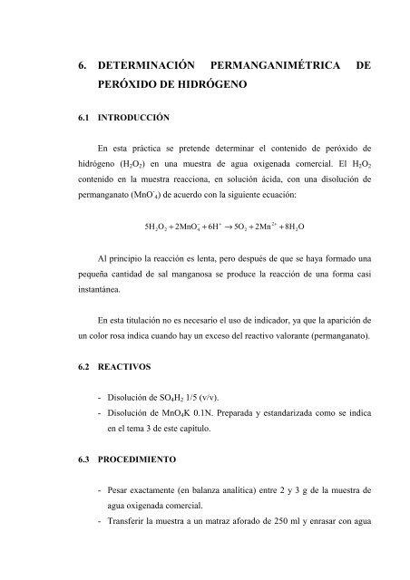 6 Determinación Permanganimétrica De Peróxido De Hidrógeno