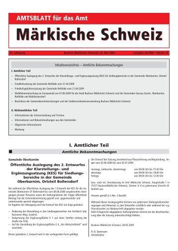 AMTSBLATT für das Amt Märkische Schweiz