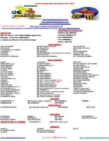 Catalogo - Pistas Musicales Perú, Venta de Pistas Musicales de