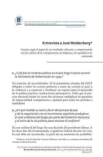 Entrevista a José Woldenberg* - UNAM