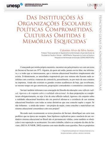 Das Instituições às Organizações Escolares - Acervo Digital da Unesp