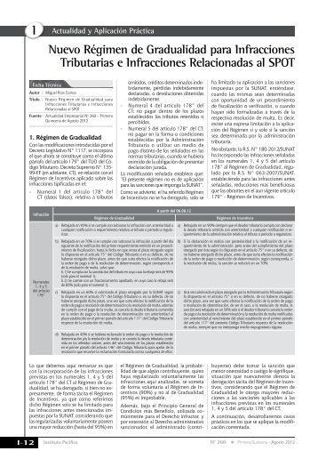 Nuevo Régimen de Gradualidad para Infracciones Tributarias e ...