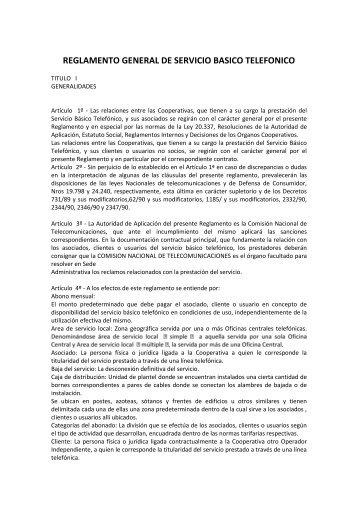 REGLAMENTO GENERAL DE SERVICIO BASICO TELEFONICO