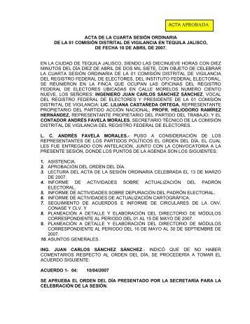 ACTA DE LA CUARTA SESIN ORDINARIA - Instituto Federal Electoral
