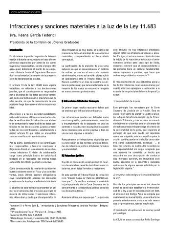 Infracciones y sanciones materiales a la luz de la Ley 11.683