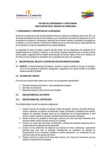 ESTUDIO DE CONVENIENCIA Y/O NECESIDAD DEL PROCESO ...