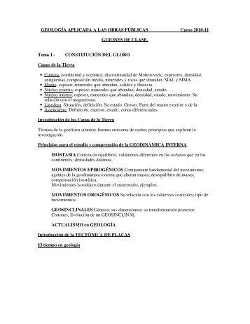 GEOLOGÍA APLICADA A LAS OBRAS PÚBLICAS Curso 2010-11 ...