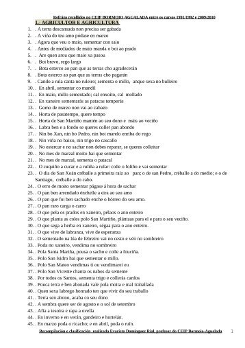 REFRÁNS LISTOS POR TEMAS RECOLLIDOS EN AGUALADA