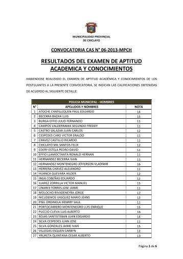 resultados del examen de aptitud academica y conocimientos