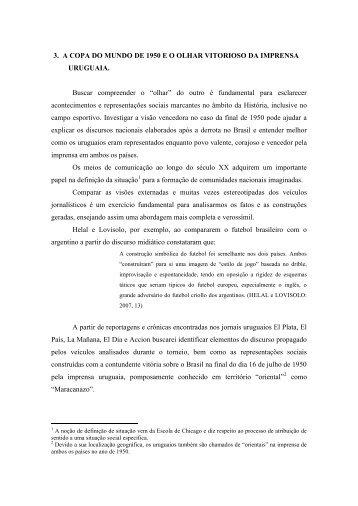 3. A COPA DO MUNDO DE 1950 E O OLHAR VITORIOSO DA ...