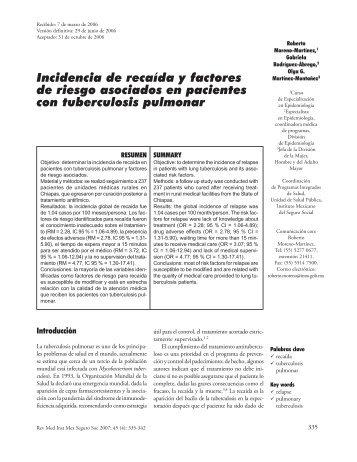 Incidencia de recaída y factores de riesgo asociados en ... - imss