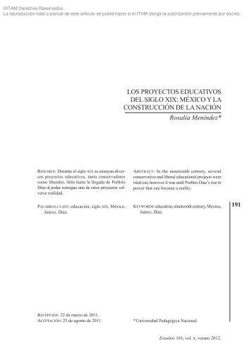 LOS PROYECTOS EDUCATIVOS DEL SIGLO xIx ... - Biblioteca - ITAM
