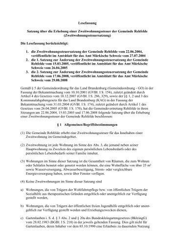 Zweitwohnungssteuersatzung - Amt Märkische Schweiz