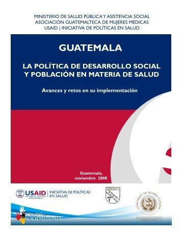 La Politica de Desarrollo Social y Poblacion en Materia de Salud